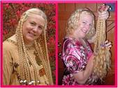 Before and after shot of Debbie before donating hair to Locks of Love