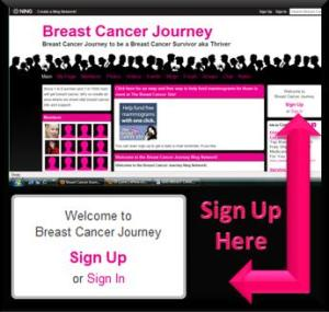 How to sign up for Breast Cancer Journey on the NING Network